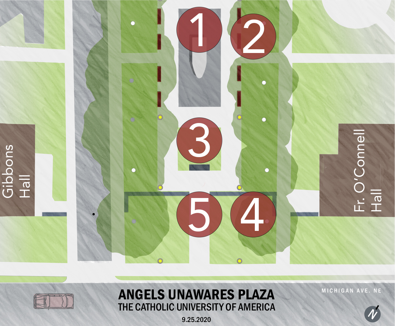 Placement of Angels Unawares on campus