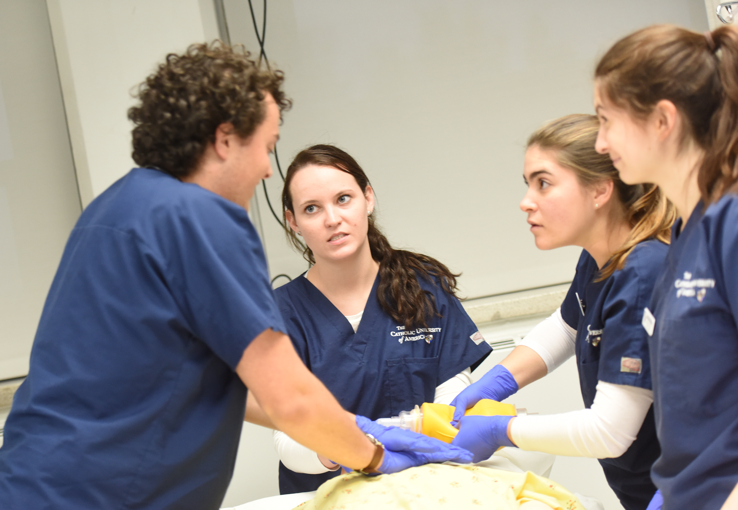 Nursing students demonstrate new equipment