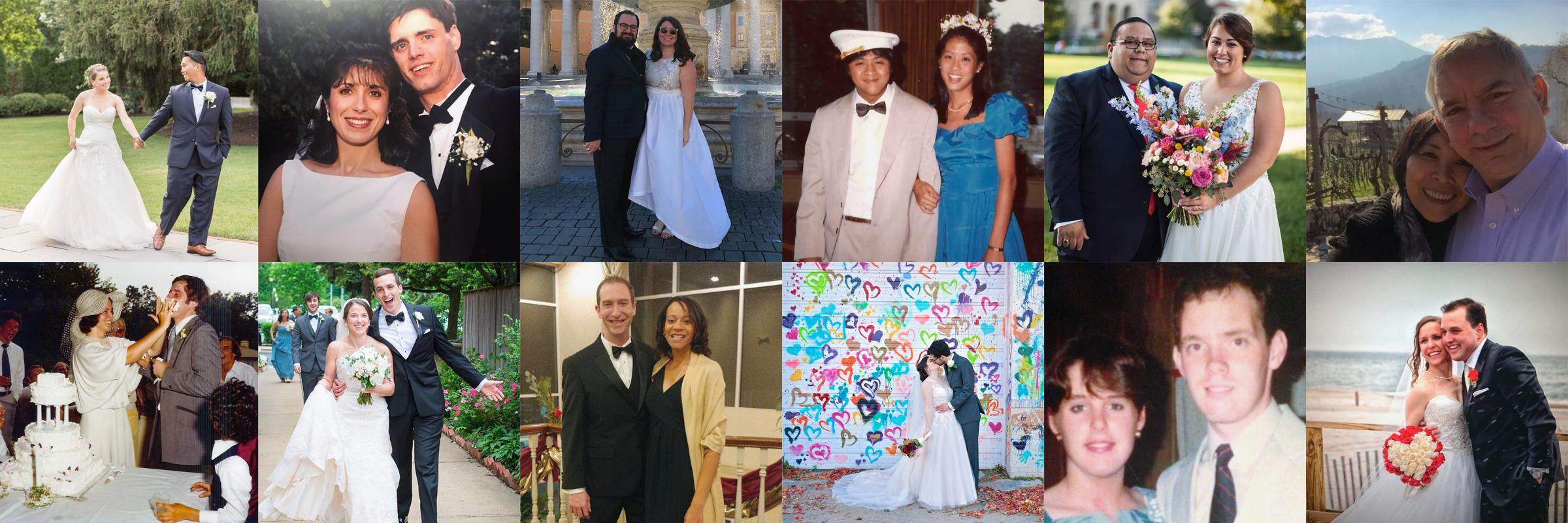 Photo montage of married alumni couples