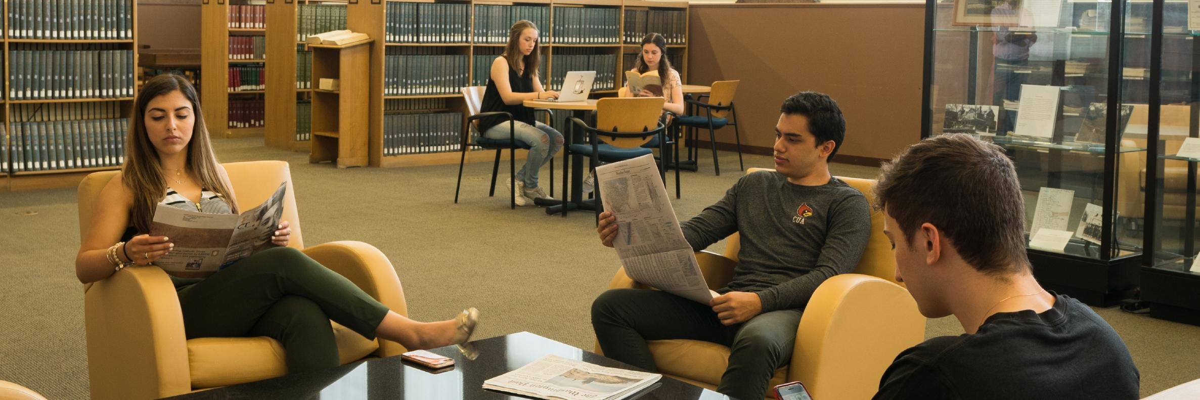Students in Mullen Library
