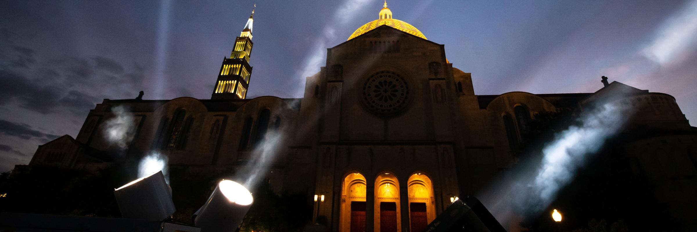 Spotlights by the Basilica