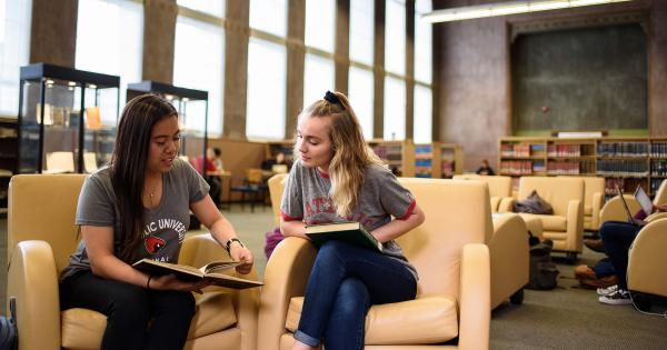 Students reading in the Mullen Library