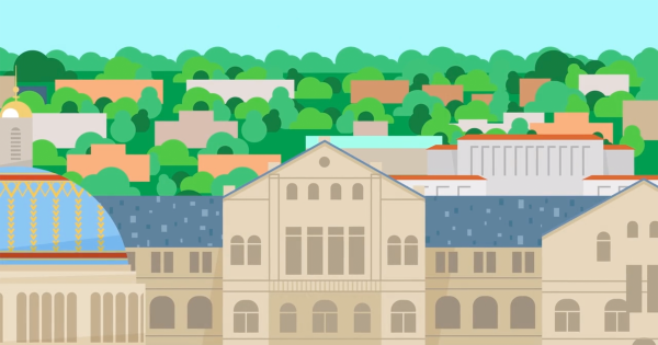 Illustration of McMahon Hall and campus
