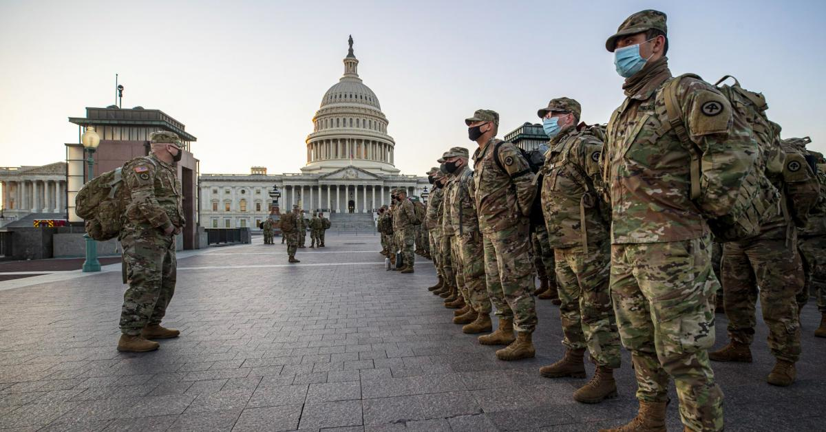 Troops guarding the U.S. Capitol