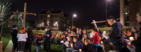 Students participating in the Way of the Cross