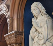 Statue of Mary in Caldwell Hall