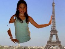Image of student with Eiffel Tower